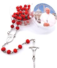 Daisy House Religious Catholic Prayer Beads Rose Scented Red Wood Beads Rosary Necklace Cross Pedant Necklaces for Women (6mm Rosary Necklace)
