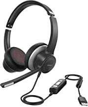 Mpow USB/3.5mm Headset with Microphone, Comfort-fit 4.8oz Office PC Headsets, On Ear Computer Headphone with Noise Reduction, 270 Degree Boom Mic, in-line Volume Control with Mute for Skype, Webinar