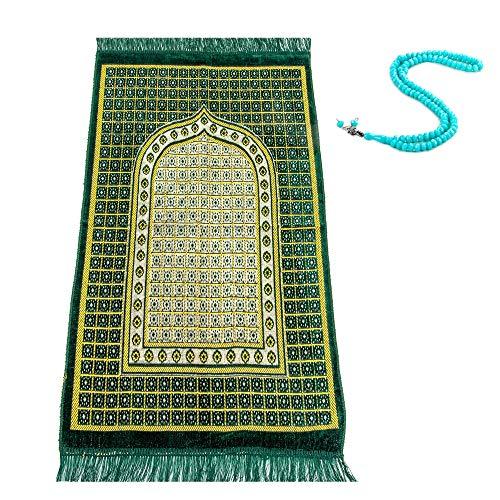 Velvet Thick Muslim Prayer Rug, Gift Prayer Beads 99, Islamic Prayer Mat for Muslim Prayers, Ramadan Gift Prayer Mat Muslim for Women and Men, Prayer Rugs Islam with Tasbih, Zikr Beads, Portable Mat
