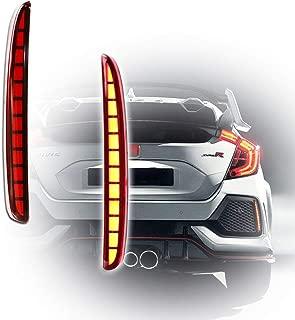 GTINTHEBOX Red Lens Full LED Bumper Reflector Lights Tail Brake Rear Fog Lamps for 2017-up Honda Civic Hatchback, Type-R or SI 4-Door Sedan