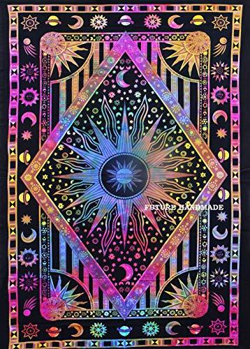 FUTURE HANDMADE Batik-Tuch, Wandbehang, Stranddecke, Hippie-Tuch, Yoga-Matte, Wohndekoration