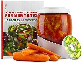 Mortier Pilon - Fermentation Kit with 2L Glass Fermentation Crock, Lid, Weight and 45 Recipe Book – Make Sauerkraut, Kimch...