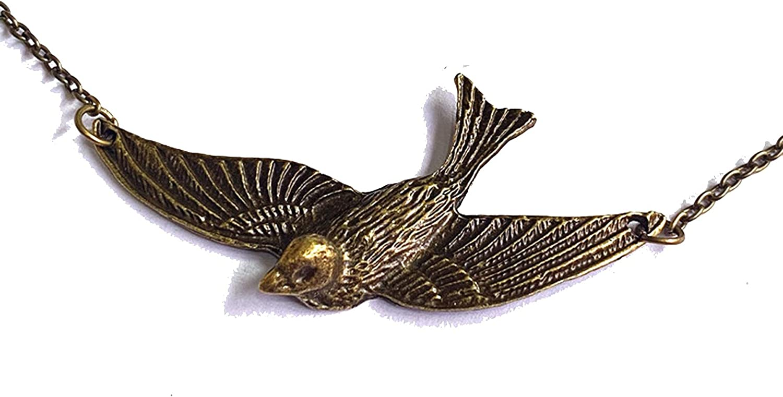 SWAOOS Fashion Retro Peter Pan Big Swallow Pendant Necklace, Antique Bronze Collar, Rockabilly Bird Choker for Women Gifts Jewelry 50Cm