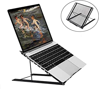YCOCO Ventilated Adjustable Laptop Computer Stand Holder for Desk Laptop Riser Cooling Stand Mesh Metal 13.4 x 11.7 x 0.5 inch
