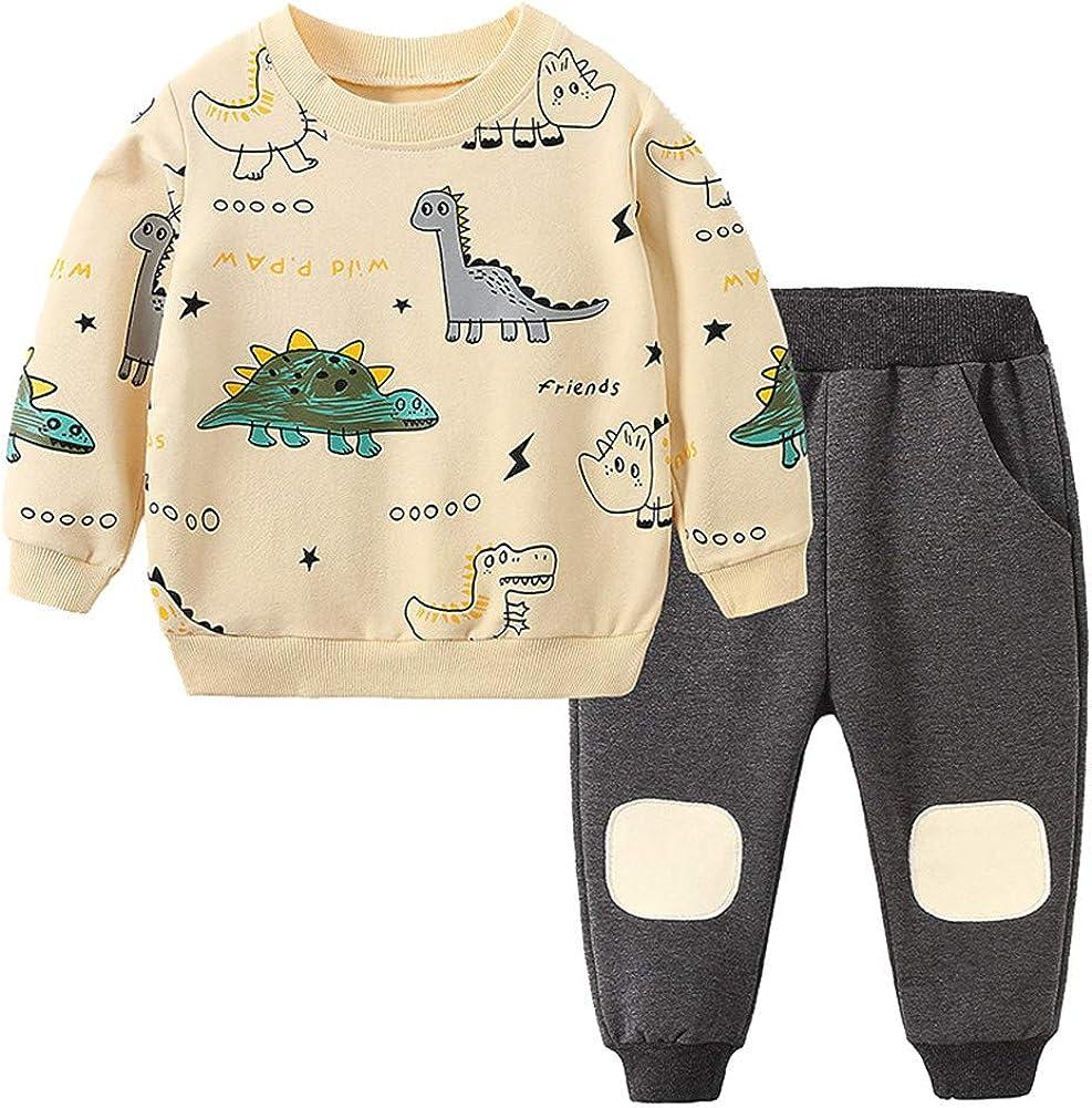 Mud Kingdom Little Boys Pants Set Long Sleeve Cute Cartoon Dinosaur Prints