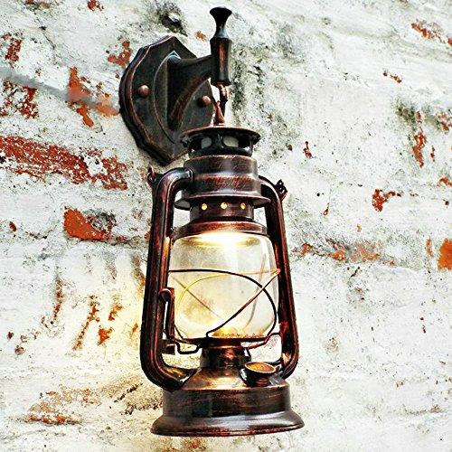 Bcyhh Wandleuchter Vintage Rustikal Klassische Industrie Wandlampe Schmiedeeisen Laterne 1×E27 220V Retro Metall Kreative Lampe Wandlicht Wegeleuchten Nacht (Retro rot)