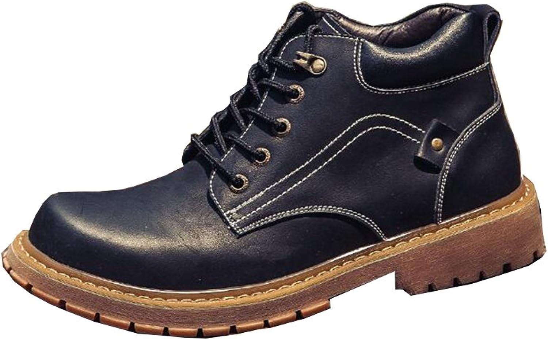 SUNNY Fashion Autumn and Winter Martin Boots Men's Leather British Style Korean Khaki Black (color   2, Size   EU40 UK7 CN41)