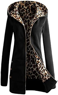 DOKER Women's Autumn Winter Leopard Print Zipper Long sleeve Hoodie Sweatshirt