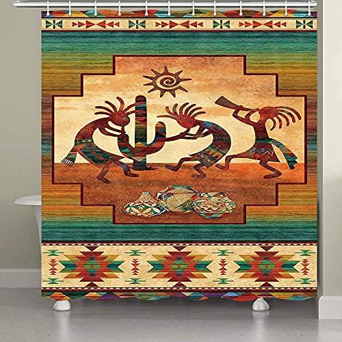 Southwestern Duschvorhang, Southwest Indianer Kokopelli Ethnisches Muster Duschvorhänge für Badezimmer, wasserdichtes Polyestergewebe mit Haken 174 x 178 cm