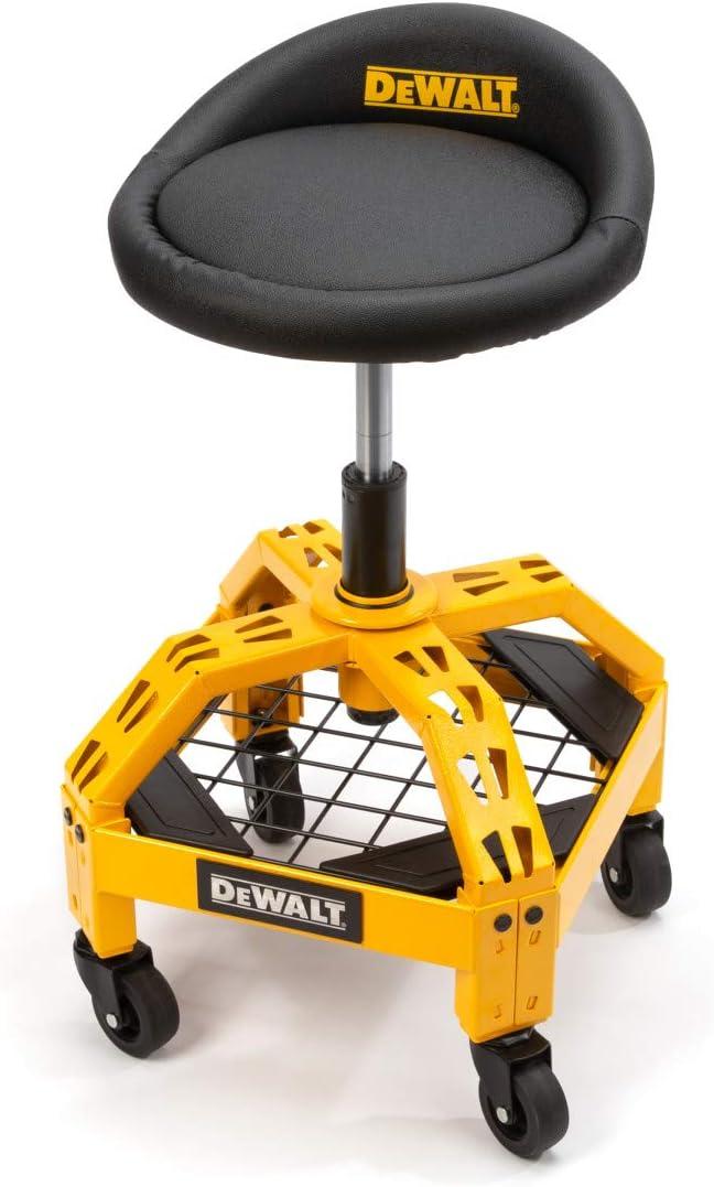 Dewalt Padded Rolling Shop Garage Stool 360-degree Max 71% OFF Deluxe Seat Swivel