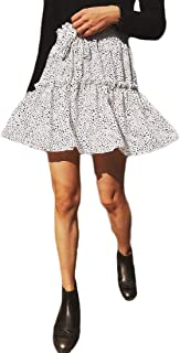 MU2M Women Flare Chiffon Summer Ruched High Waisted Polka Dot Print Beach Party Mini Skirts