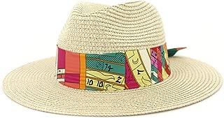 Outdoor Bucket Sun Hat Men's Summer Women Straw Sun Hat Elegant Lady Beach Ha Wide Brim Sun Hat Garland Sunbonnet Size56-58CM (Color : Khaki, Size : 56-58CM)