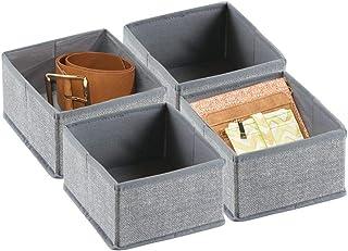 mDesign boîte de rangement pour armoire ou tiroir (lot de 4) – boîte de rangement tissu idéale – panier de rangement flexi...