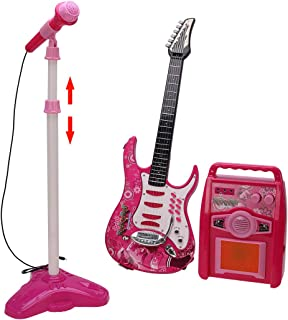 YuHuaFUShi Kids Electric Guitar with Amp and Microphone for Boys Girls Beginners 5 Years Old Pink, Adjustable Stand