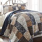 MISC 3pc Brown Blue Tan White Full Queen Quilt Set, Cotton, Geometric Damask Patchwork Themed Bedding Navy Grey Diamond Bohemian Boho Trendy Cottage Navy Rustic Pretty Vintage
