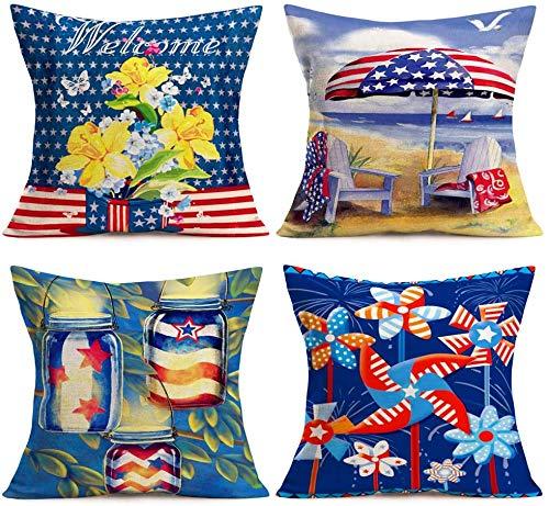 Kissenbezüge im amerikanischen Flaggenstil Kreatives Rot Blau USA Sterne Streifen Drucken Sommerstrand Blumenblüte Windmühle Dekorative Baumwolle Leinen Überwurf Taille Kissenbezug Kissenbezug 18 ''