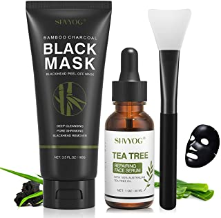 Blackhead Peel Off Face Mask, SHVYOG 3-in-1 Blackhead Remover Charcoal Face Mask with Brush & Tea Tree Serum, Purifying & ...