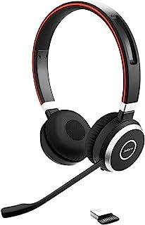 Jabra Evolve 65 Wireless Stereo On-Ear Headset - Microsoft Certified Headphones with Long-Lasting Battery - USB Bluetooth Adapter - Black