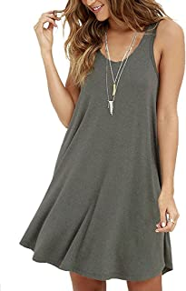 Women's Summer Sleeveless Casual Swing Simple T-Shirt Loose Dresses