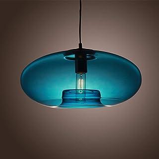 Modern Pendant Hanging Light Glass Shades Blue Industrial Vintage Chandelier E27 Pendant Lamp for Restaurant Bedroom Livin...