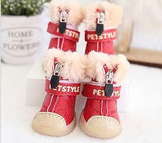 SENERY Plush Non-Slip Pet Shoes Winter Warm Puppy Boots Yorkie Waterproof Dog Rain Snow Booties