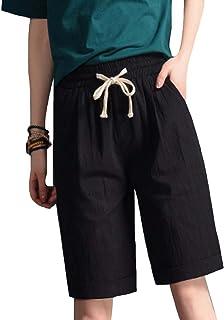 GFMADE レディース ショートパンツ 無地 綿麻 ハーフパンツ 薄手 ゆったり ショーパン ハイウエスト短パン 5分丈 大きいサイズ