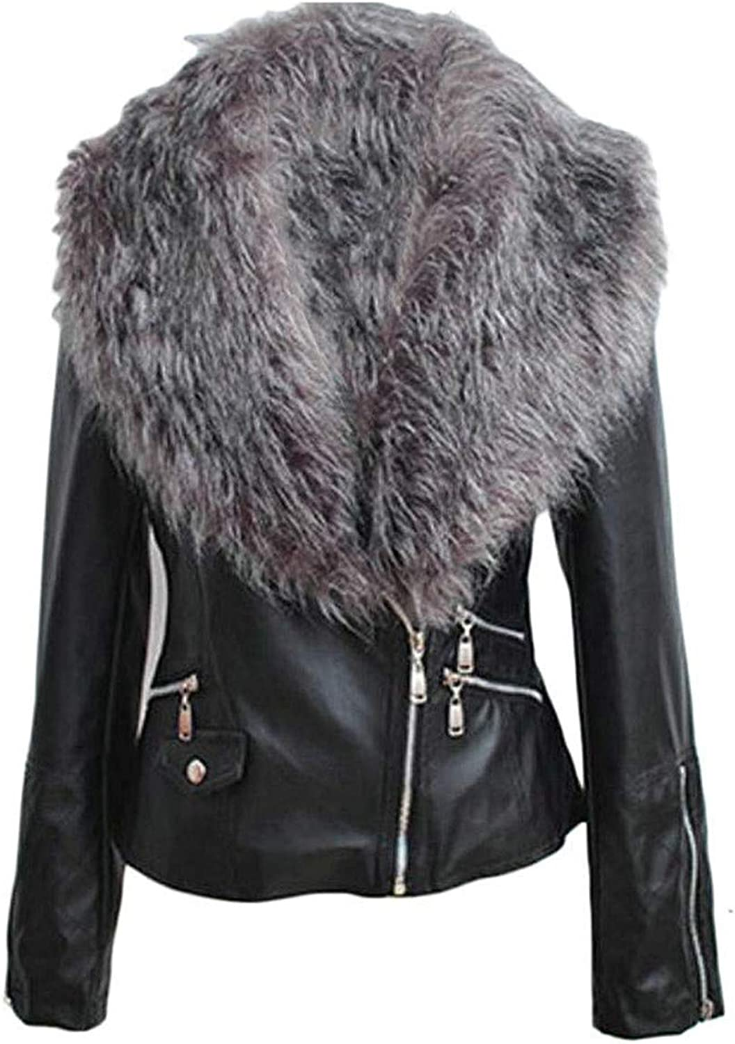 Zhdyhgsd Women's Fashion Faux Leather Faux Leather Motorcycle Jacket