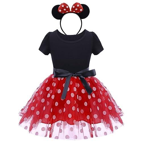 Girls Minnie Mouse Tutu Dress Kids Polka Dot Halloween Christmas Fancy Costume