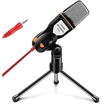 TYC Micrófono Condensador, Micrófono Condensador Profesional de Conexión 3.5mm para Podcast, Radio, Videojuegos en Línea, Video Llamadas y Más, Micrófono Condensador Kit para PC Laptop Computadora
