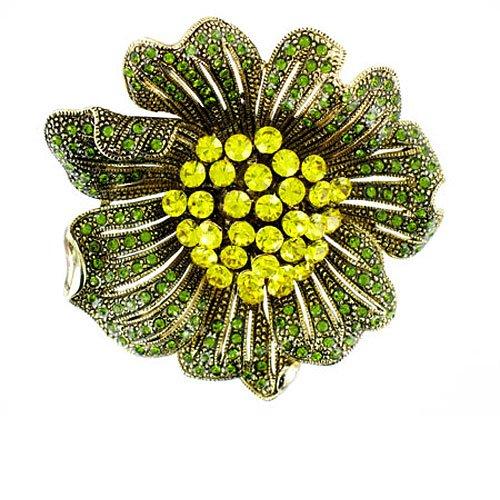 Verde y amarillo de oro chapado en flor con cristales broche