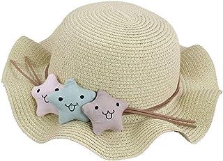 Jojck Little Stars Ruffled Children Straw Hat Baby Summer Outdoor Sun Hat Toddlers Cartoon Ripple Edge Cap