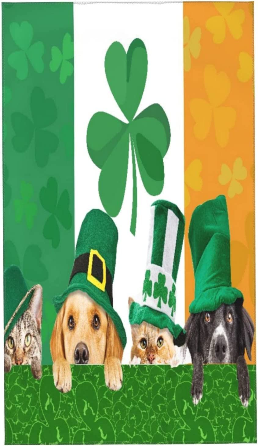 MIGAGA Set of 2 Hand Towels Happy Day Max 54% OFF Cheap bargain Cat Do St. Patrick's Funny