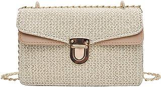 LHKFNU Design Straw Bags for Women Small Beach Handbags Vintage Rattan Bag Handmade Crossbody Bag Purses