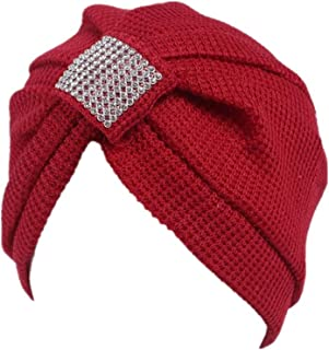 Qingfan Women Crochet Solid Pre Tied Warm Cancer Chemo Hat Beanie Turban Stretch Head Wrap Cap