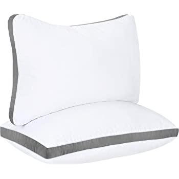 Utopia Bedding Gusseted Pillow (2-Pack) Premium Quality Bed Pillows - Side Back Sleepers - Grey Gusset - Queen - 18 x 26 Inches