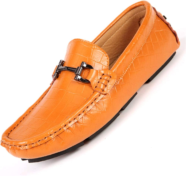 Ruanyi Herren Driving Driving Driving Schuhe 3D Geprägte Leder Casual Slipper Slipper mit D-Metallschnalle Runde Zehe Business Sports Driving Britische Stil Herren Slipper (Farbe   Braun, Größe   38 EU)  287c36