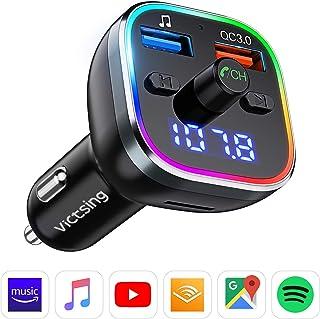 Transmisor FM Bluetooth V5.0, RGB 7 Colores Luz de Anillo