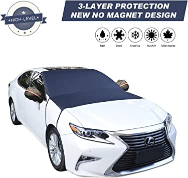 """Car Windshield Snow Cover, 3-Layer Protection and Double Side Design, Keep Snow & Ice Off, No More Scratch Paint, Windshield Sun Shade Protection, Extra Large Fit Most Car, Van, SUV(81""""x 59""""): image"""