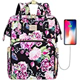 Laptop Backpack,15.6 Inch Stylish College School Backpack with USB Charging Port,Water Resistant Casual Daypack Laptop Backpack for Women/Girls/Business/Travel (Flower7)