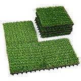 ZTOUTDOOR Artificial Grass Mat for Patio, Home Decoration, Realistic Turf Tile Interlocking Self-draining Mat, 1x1 ft, 9 Pack