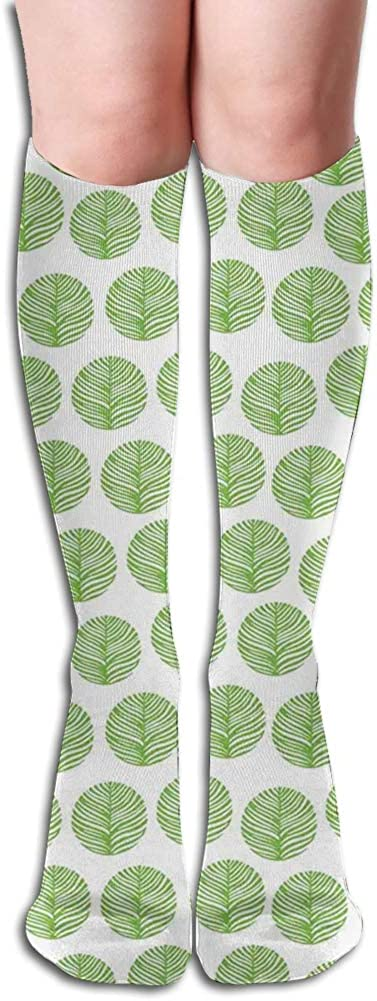 Men's and Women's Funny Casual Combed Cotton Socks,Hand Drawn Composition of Green Toned Spring Foliage Environment Theme