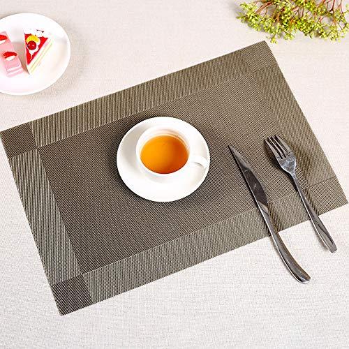 KAEHA SUN-056-20 4 stuks PVC-textuur restaurant keuken warmte-isolatie individuele tafelkleden, bruin
