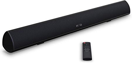 Soundbar, MEGACRA TV Sound Bar with Dual Bass Ports Wired and Wireless Bluetooth 5.0 Home Theater System (28 Inch, Enhanced Bass Technology, 3-Inch Drivers, Bass Adjustable, Wall Mountable, DSP)