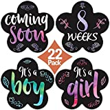 Stick'Nsnap (TM) 22 Pregnancy Stickers -'Curly Rainbow at Sunset' (TM). Great Baby Shower Gift! (4.25' Flower)