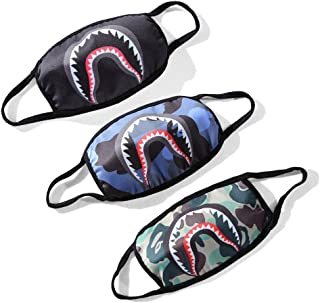 Bape Shark Face Mask for Boys Grils Kids, 3 Pack Anti Dust Cotton Mouth Masks Fashion Half Mask for Ski, Cycling, Camping, Shopping, Halloween, Christmas, Pet Grooming, (Black, Green, Blue)