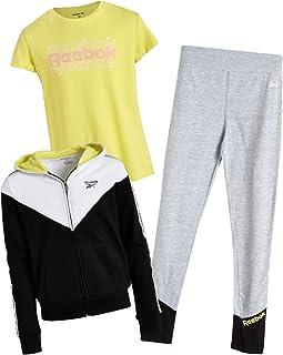 Reebok Girls' Athleisure Pant Set with Fleece Hoodie, T-Shirt, and Leggings (3 Piece)