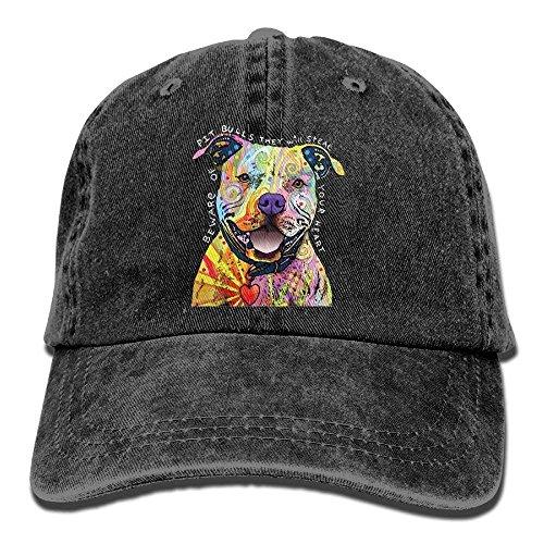 hjk Beware of Pit Bulls Adult Denim Fabric Hat for Boy Woman Unisex,Boys Female'S Cap Sombreros y Gorras