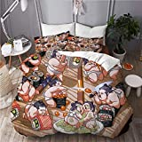 665 Bedding-Duvet Cover Set,Japanese Sushi Sumo Cute Little Funny Characters Print Background Illustration,Microfibre 135x200 with 2 Pillowcase 50x80,Single