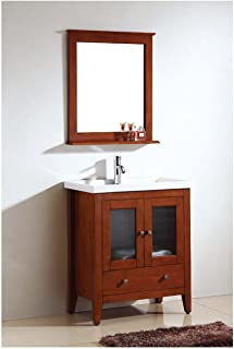 Dawn RAM240429-04 Solidwood and Plywood Frame Mirror with Shelf, Teak Finish