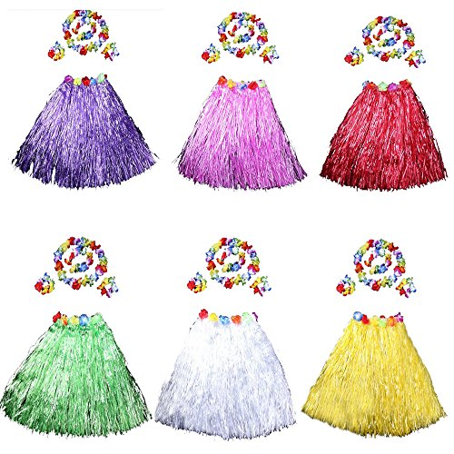 HLJgift 24'' Long Adult's Flowered Luau Hula Skirts With Costume Set Pack of 6, Assorted Colors